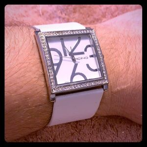 ICING White leather ladies watch w/ crystal accent